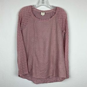 Anthropologie   Pink Feather Lace Top